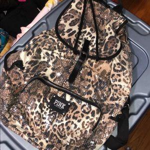 Pink Victoria Secret Cheetah Sequined Backpack